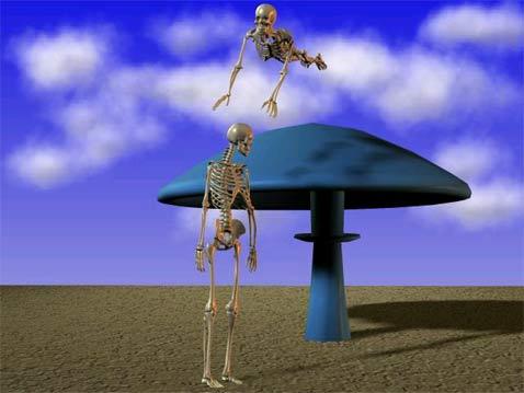 скелеты прыгают на грибы